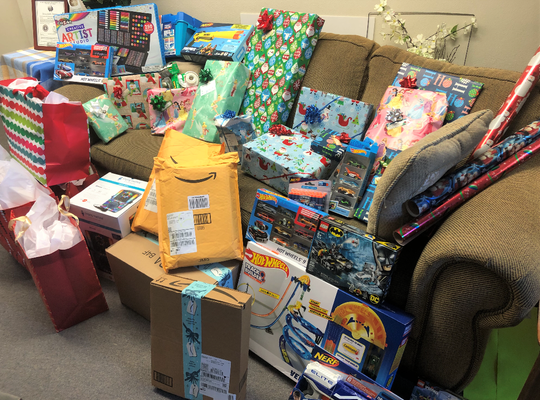 Christmas presents donated to a family in need in San Angelo.