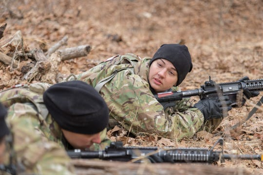Pfc. Katelyn Castro is the only female in her platoon to qualify as an expert marksman on the M4 rifle using a close-combat optic. Her MOS is 68W, or combat medic.