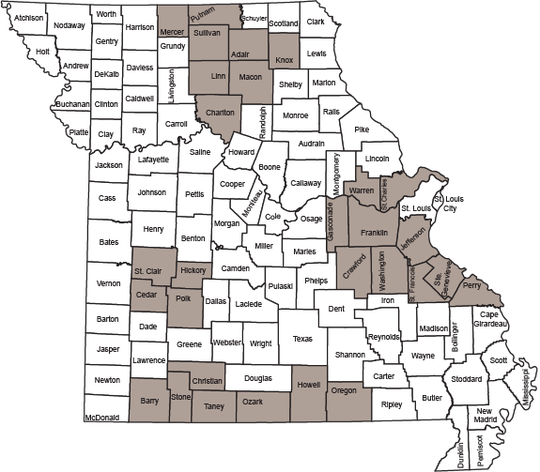 Map shows CWD management zone in Missouri.