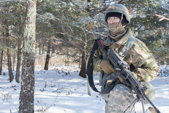Pvt. Rhys Bullington is one of the top shooters in his platoon using iron sights on an M4 rifle, qualifying as an expert marksman. His Military Occupational Speciality is 12B, or combat engineer.