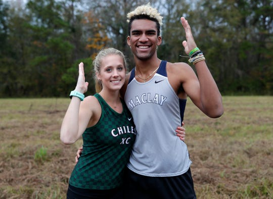 Chiles senior Caitlin Wilkey is the 2019 All-Big Bend Runner of the Year in girls cross country after winning five races, including a district title, while finishing third in Class 4A with an area-best 17:45 time as the Timberwolves became state runner-up. Maclay senior Jay Brown is the 2019 All-Big Bend Runner of the Year in boys cross country after winning five races, including district and regional titles, while also finishing third in Class 1A and running an area-best 15:14 time.