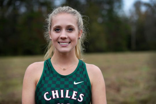 Chiles senior Caitlin Wilkey is the 2019 All-Big Bend Runner of the Year in girls cross country after winning five races, including a district title, while finishing third in Class 4A with an area-best 17:45 time as the Timberwolves became state runner-up.