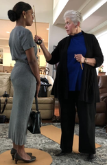 Kimberly Brown Pellum, left, gets measured by sculptor Clydette Fulmer. Brown Pellum was chosen to be the model of Rosa Parks sculpture unveiled Dec. 1, 2019 in Montgomery, Alabama.