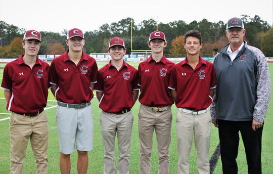 Chiles' entire starting five boys golfers -- junior Jake Springer, sophomore Parker Bell, senior Trey Buehler, junior Patrick McCann and sophomore Aiden Ash -- were named to the 2019 All-Big Bend golf first team after winning a Class 3A state championship. Coach Ken Smith was named the All-Big Bend Coach of the Year and Bell the Player of the Year for the second straight season.