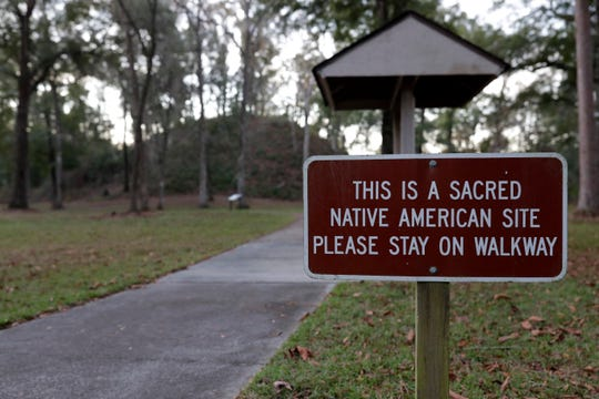 The sign leading into Letchworth-Love Mounds Archeological State Park where the Letchworth Mounds, a sacred Native American site, are protected by park rangers.