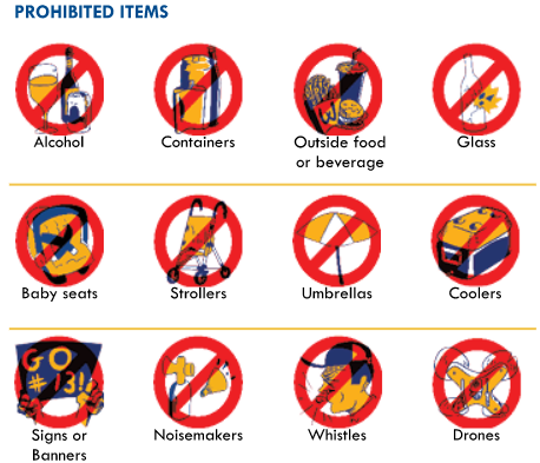Sun Bowl prohibited items
