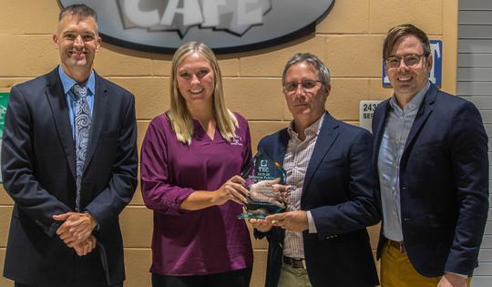 (From left) Greg McGraw, principal, Cumberland County Technical Education Center; was joined by Kerri Flood, Morey's Water Park Area Manager; Bill Oakley, Morey's Corporate Partner Manager; and Kevin Kelly, Morey's Operations Manager; as Cumberland County Technical Education Center recognized Morey's Piers as its 2019-2020 Business Partner of the Year.
