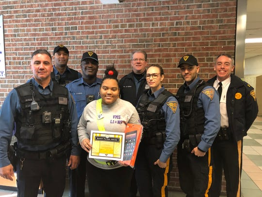 The Vineland Police Juvenile Unit honored Pre'Yanna Harris, a Veterans Memorial Intermediate School safety patrol, for her leadership during an emergency.