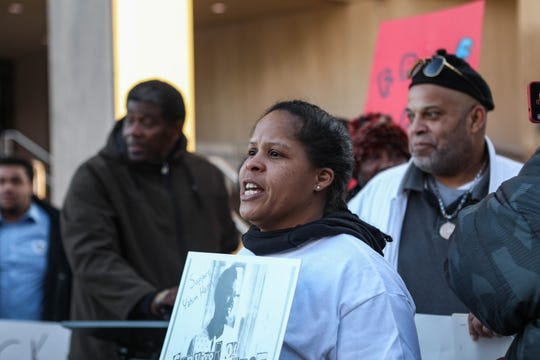 Jonda Harris chants at a protest in support of her son, Yahim Harris, who was shot by Wilmington Police while unarmed earlier this year, at a protest on Friday, Dec. 20.