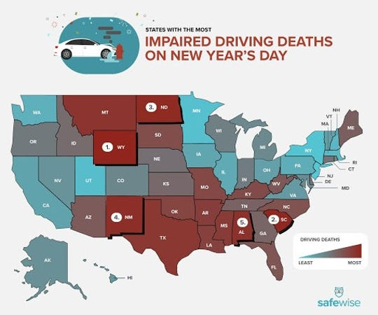 Texas came in eighth for impaired-driving deaths on New Year's Day, SafeWise is offering 100 $10 Lyft credits for customers in the top 10 worst impaired-driving deaths states to use this New Year's Eve.