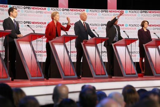 Pete Buttigieg, Elizabeth Warren, Joe Biden, Bernie Sanders and Amy Klobuchar at Democratic debate in Los Angeles on Dec. 19, 2019.