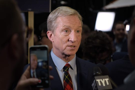 Democratic presidential hopeful billionaire and philanthropist Tom Steyer speaks to the press in the spin room after the sixth Democratic primary debate of the 2020 presidential campaign season co-hosted by PBS NewsHour & Politico at Loyola Marymount University in Los Angeles, California on December 19, 2019. (Photo by Agustin PAULLIER / AFP) (Photo by AGUSTIN PAULLIER/AFP via Getty Images) ORIG FILE ID: AFP_1N77CE