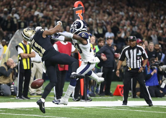 Jan. 20: Los Angeles Rams defensive back Nickell Robey-Coleman breaks up a pass - without drawing a PI penalty - intended or New Orleans Saints wide receiver Tommylee Lewis (11) during the fourth quarter of the NFC Championship Game.
