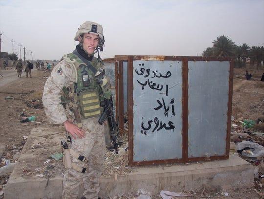 Elliot Ackerman in Fallujah, Iraq, in December 2004.