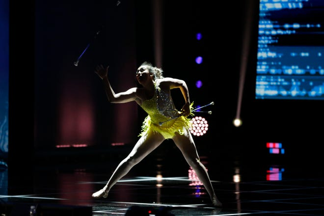 Poor lighting did a disservice to Miss Missouri Simone Esters' baton performance.