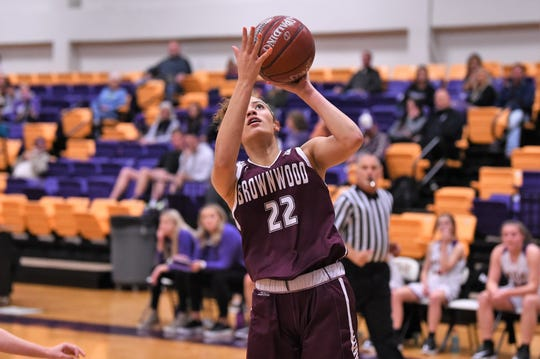 Brownwood's Matyha Thompson (22) scores after stealing a Wylie pass at Bulldog Gym on Friday, Dec. 20, 2019. The Lady Lions let a 13-point halftime lead slip away in a 46-34 loss.
