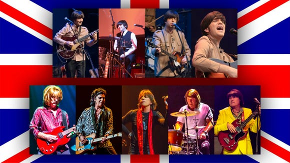 """Tribute bands Abbey Road (top) and Satisfaction face off in """"Beatles vs. Stones — A Musical Showdown."""""""