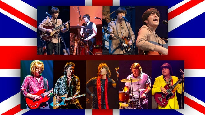 """Tribute bands Abbey Road (top) and Satisfaction face off in """"Beatles vs. Stones — A Musical Showdown"""" Feb. 27 at the Admiral Theatre in Bremerton."""
