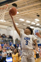 Chillicothe's Tre Beard goes up for a layup during a game against Moeller at Chillicothe High School on Dec. 20, 2019.