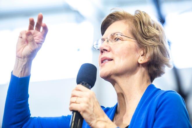 U.S. Sen. Elizabeth Warren, D-Mass., speaks during a town hall, Saturday, Dec. 21, 2019, at North Central Junior High School in North Liberty, Iowa.