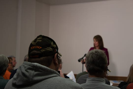 Only one MAGA hat was seen at U.S. Rep. Cindy Axne's first town hall Saturday following her vote for impeachment. Despite heated discussion before the vote, Guthrie County people focussed questions on Iowa issues.