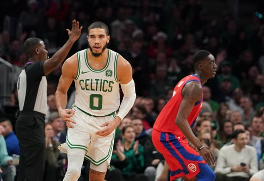 Boston Celtics forward Jayson Tatum reacts after his three-pointer against the Detroit Pistons in the first quarter Dec. 20, 2019.