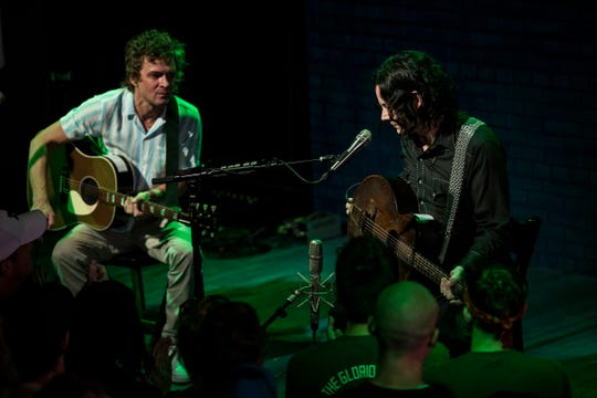 Brendan Benson, left, and Jack White performed at  Third Man Records in Detroit in July.