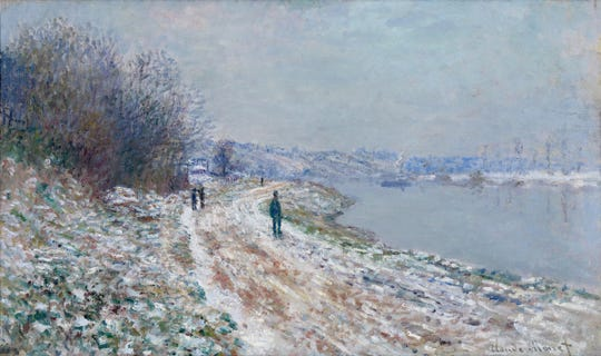 """Monet's """"Chemin de halage à Argenteuil (Towpath at Argenteuil, Winter)"""" was painted between 1875 and 1876."""