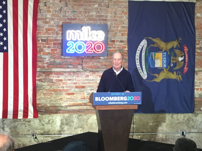 Former New York City Mayor and presidential candidate Michael Bloomberg speaks at the grand opening of his Detroit campaign office Saturday, Dec. 21 2019.
