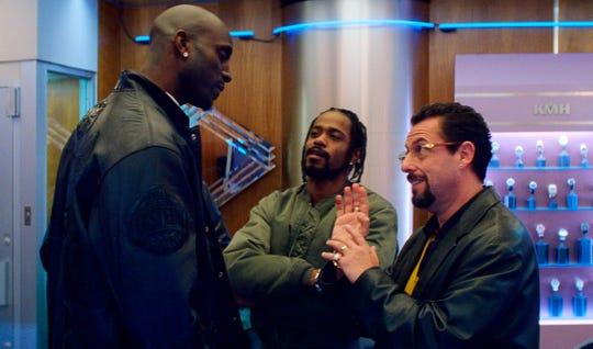 "Kevin Garnett, Lakeith Stanfield and Adam Sandler in ""Uncut Gems."""
