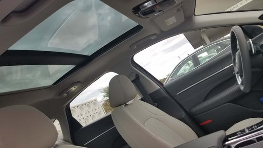 The 2020 Hyundai Sonata can be optioned with a panoramic roof.