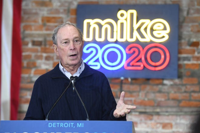 Democratic Presidential candidate Mike Bloomberg speaks to supporters at his Eastern Market campaign office on Saturday.