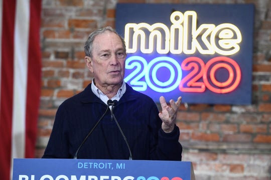 Democratic Presidential candidate Mike Bloomberg at the opening of his Eastern Market campaign office in Detroit on Saturday, December 21, 2019.