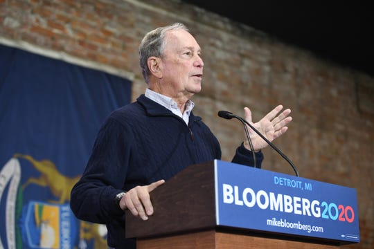 Democratic Presidential candidate Mike Bloomberg speaks to supporters at the opening of his Eastern Market campaign office in Detroit on Saturday, December 21, 2019.