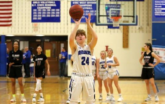 Jillian Casey takes a foul shot after an Elmira technical foul Dec. 20, 2019 at Horseheads Middle School.
