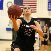Morgan Gentile of Elmira goes up for a layup in a 58-41 win over Horseheads on Dec. 20, 2019 at Horseheads Middle School.