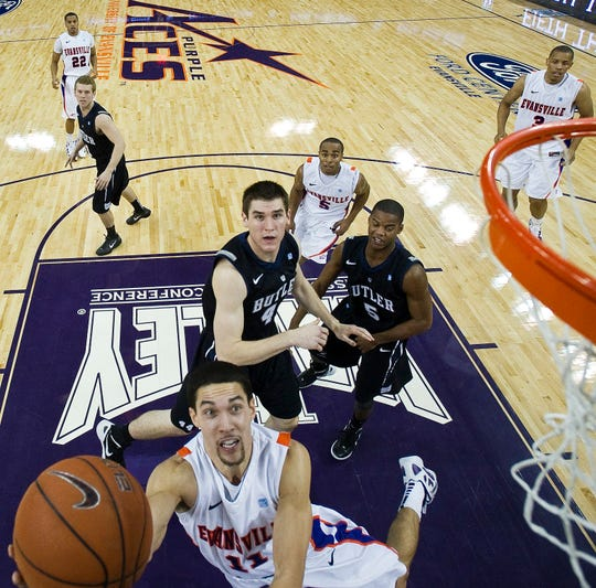 University of Evansville guard Colt Ryan (11) puts up a shot in the first half of Evansville's 80-77 overtime win over Butler at the Ford Center on Saturday, November 12, 2011.