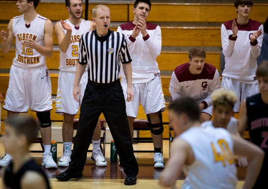 Referee Jevin Redman officiates a home game between Gibson Southern and Southridge Thursday night, Feb. 5, 2018.