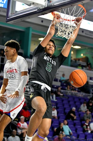 Mater Academy's Malik Reneau slams the ball during their game with Evangelical Christian in the City of Palms Classic in Fort Myers in 2019.