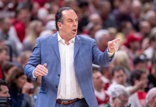 Notre Dame head coach Mike Brey reacts to the action on the court during the first half of game one against Indiana of the 2019 Crossroads Classic, Saturday, Dec. 21, 2019, at Bankers Life Fieldhouse.