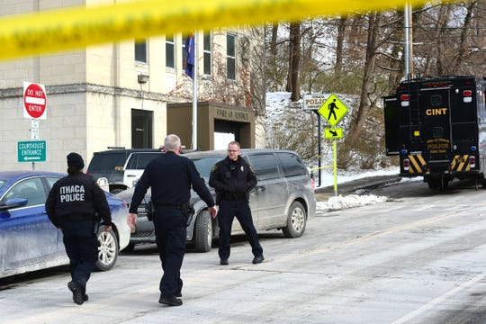 The scene outside of Ithaca Police Department on W. Clinton Street on Saturday morning following an officer involved fatal shooting inside police headquarters earlier in the morning. December 21, 2019.