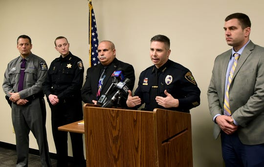 Dennis Nayor, Chief of Police for the City of Ithaca, answers questions during a press conference about the officer involved fatal shooting at police headquarters in downtown Ithaca on Saturday morning. The man killed in the shooting was identified as Michael DeCastro of Ithaca.  December 21, 2019.