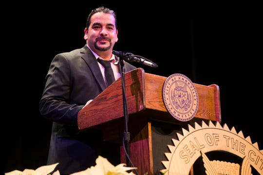 Yassin Terri, owner of Yassin's Falafel House speaks at Knoxville Mayor Indya Kincannon's inauguration at the Bijou Theatre in downtown Knoxville, Saturday, Dec. 21, 2019.