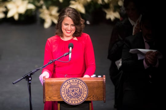 Knoxville Mayor Indya Kincannon speaks at her inauguration at the Bijou Theatre in downtown Knoxville, Saturday, Dec. 21, 2019.