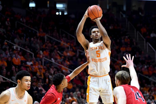 Tennessee's Josiah-Jordan James (5) on a shot attempt against Jacksonville State during the NCAA basketball game at Thompson-Boling Arena on Saturday, December 21, 2019.