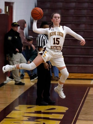 Berne Union junior guard Emily Blevins saves the ball during a game earlier this year. The Rockets are ranked No. 7 in the state in the Division IV Associated Press poll and have a 15-1 overall record.
