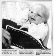This photograph was taken of Jon Schneider the day after he was found outside what was then Lancaster-Fairfield Community Hospital on Dec. 21, 1987. Thirty-two years later Schneider was reunited with three people who cared for him after he was found, including Debbie Totten who was holding him in the photograph.