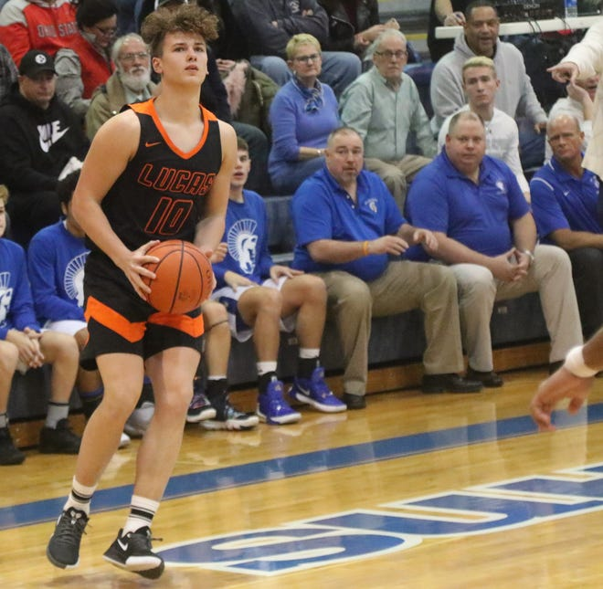 Lucas senior Logan Niswander broke the single-game record for most points (43) and most 3-pointers (9) in a win over Crestview on Monday night.