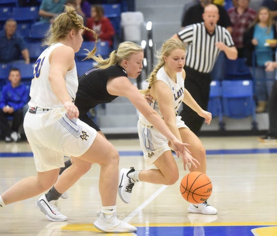 Mountain Home's Leah Jackson and Addison Yates track down a loose ball during action earlier this season.