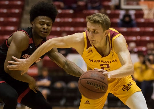 ULM is looking at different combinations in the front court, specifically at the third guard spot, to take pressure off junior Michael Ertel (2). The Warhawks are coming off three losses at Coastal Carolina, Georgia Southern and Georgia State in a six-day span.